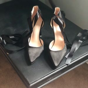 211f56147 Black satin ballerina stilettos with satin ribbon